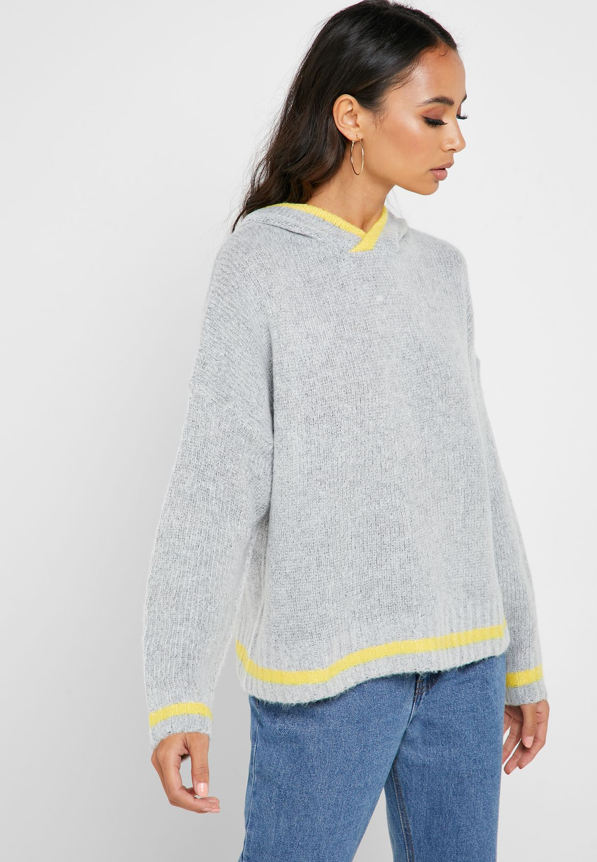 Contrast Detail Hooded Sweater