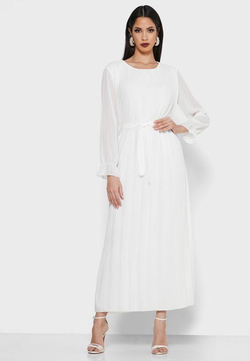 فستان مكسي بأربطة وطيات