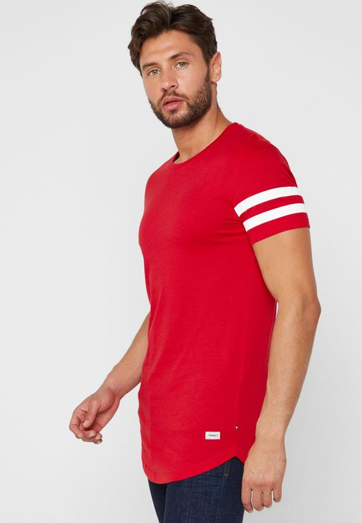 Striped Sleeve  Longline  T-Shirt