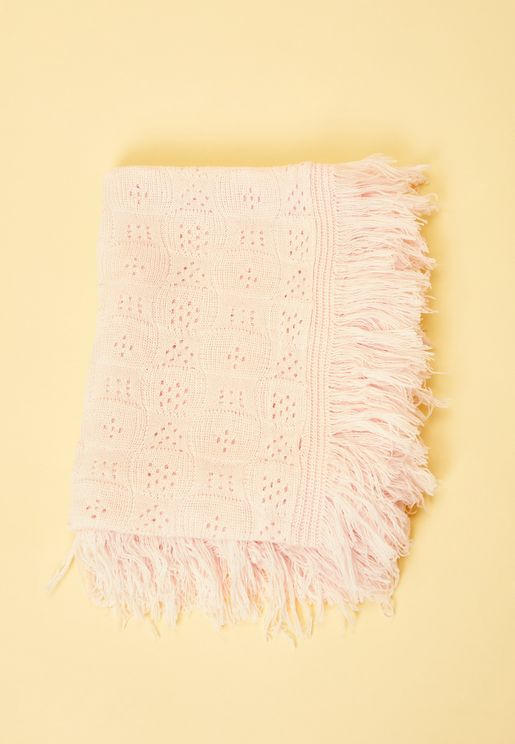 Shawl With Fringing - Pink