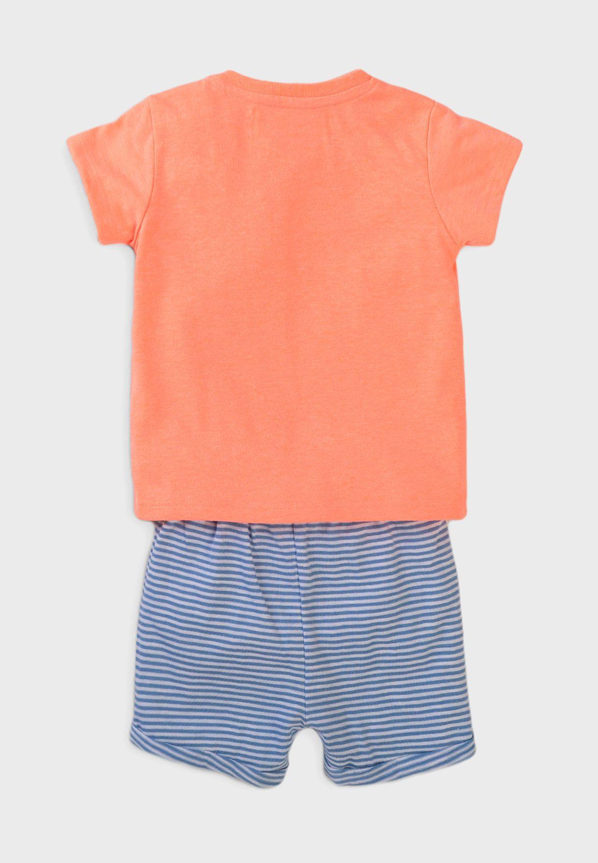 Infant T-Shirt + Striped Shorts Set