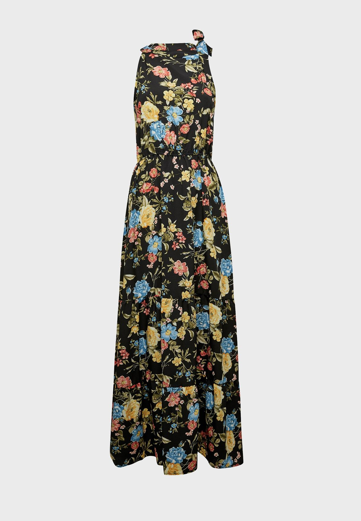 Tie Neck Floral Print Dress