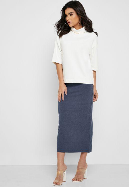 Back Slit Tube Maxi Skirt