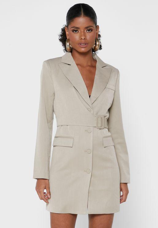 Button Down Belt Detail Mini Blazer Dress