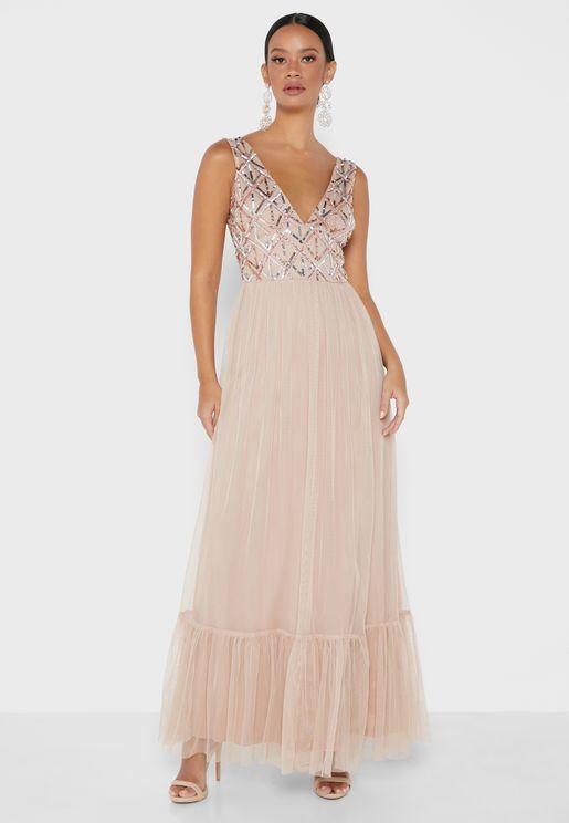 Pleated Embellished Dress