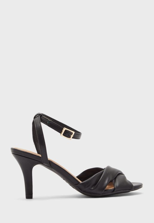 Knot Ankle Strap Mid Heel Sandals