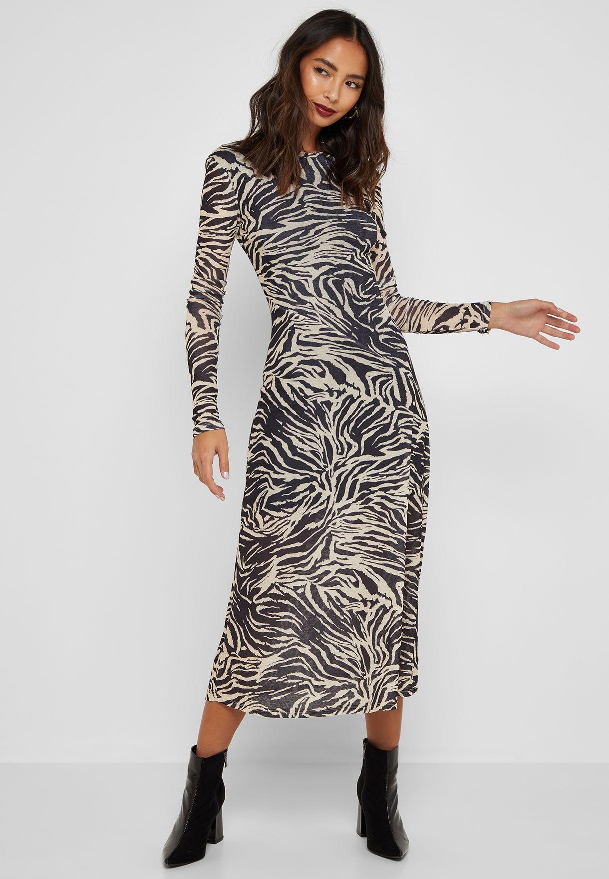 38e7e68ccd74 Shop Topshop prints Zebra Print Mesh Midi Dress 10J05QSTN for Women ...