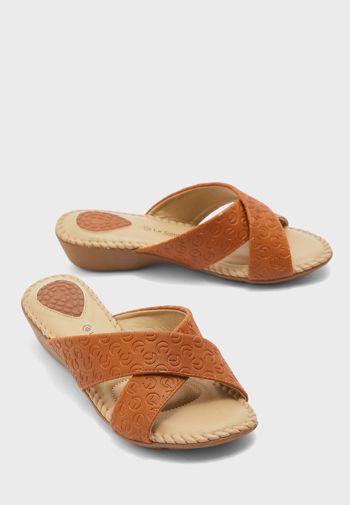 Cross Strap Wedge Sandal