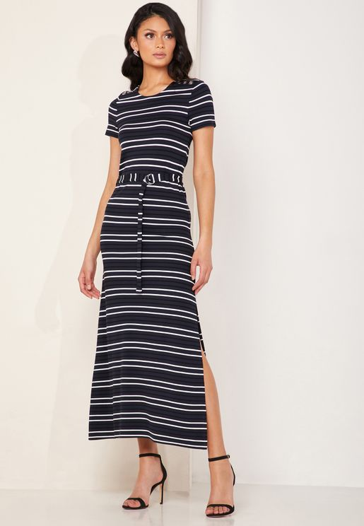 Striped Belted Jersey Midi Dress