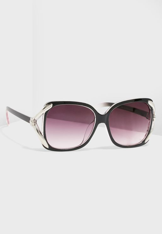 Arm Detail Oversized Round Sunglasses