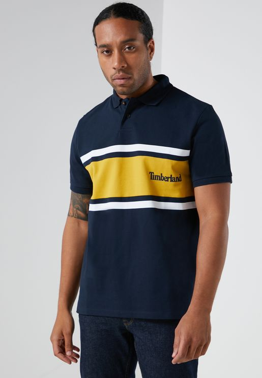 Millers River Colour Block Pique Polo