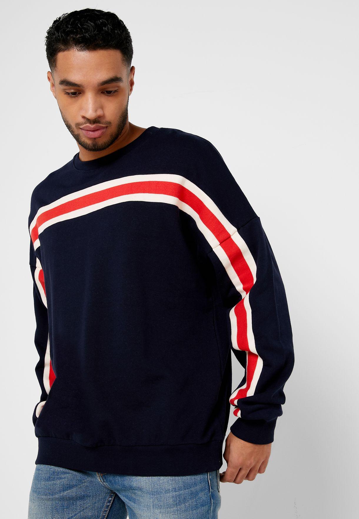 Stripe Detail Oversized Sweatshirt