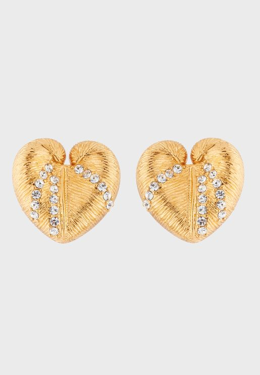 Shell And Crystals Stud Earrings