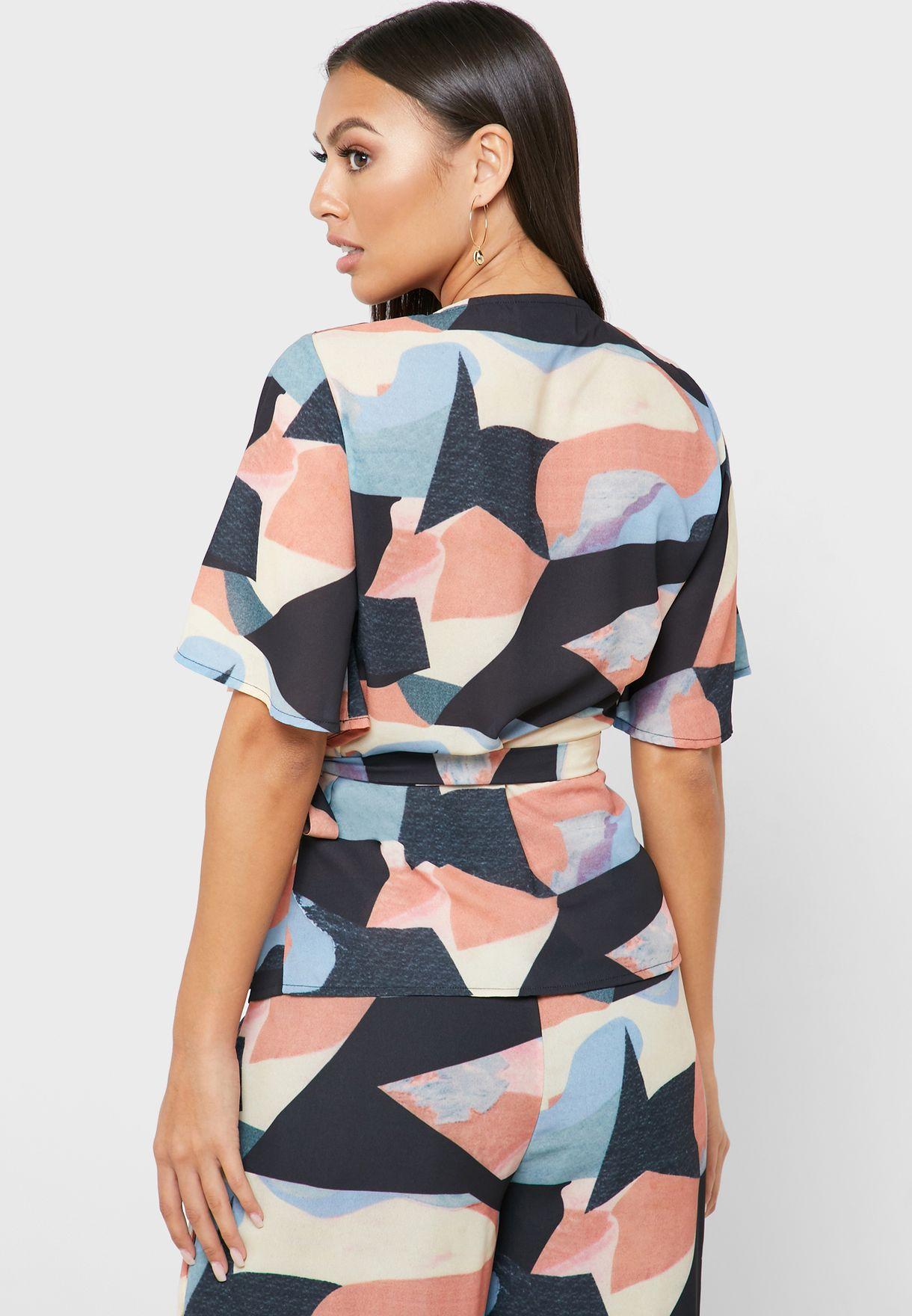 Side Tie Printed Top