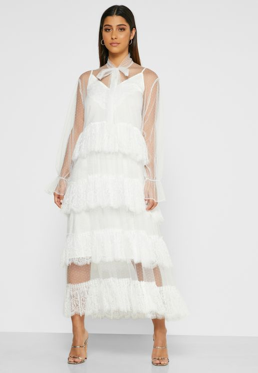 Sheer Lace Tiered Dress