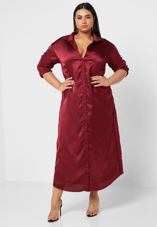 فستان ستان طويل بنمط قميص
