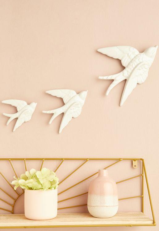 ديكور طيور سنونو للحائط - مجموعة من 3 قطع