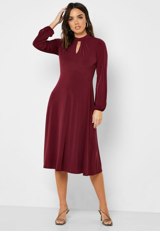 High Neck Front Keyhole Dress