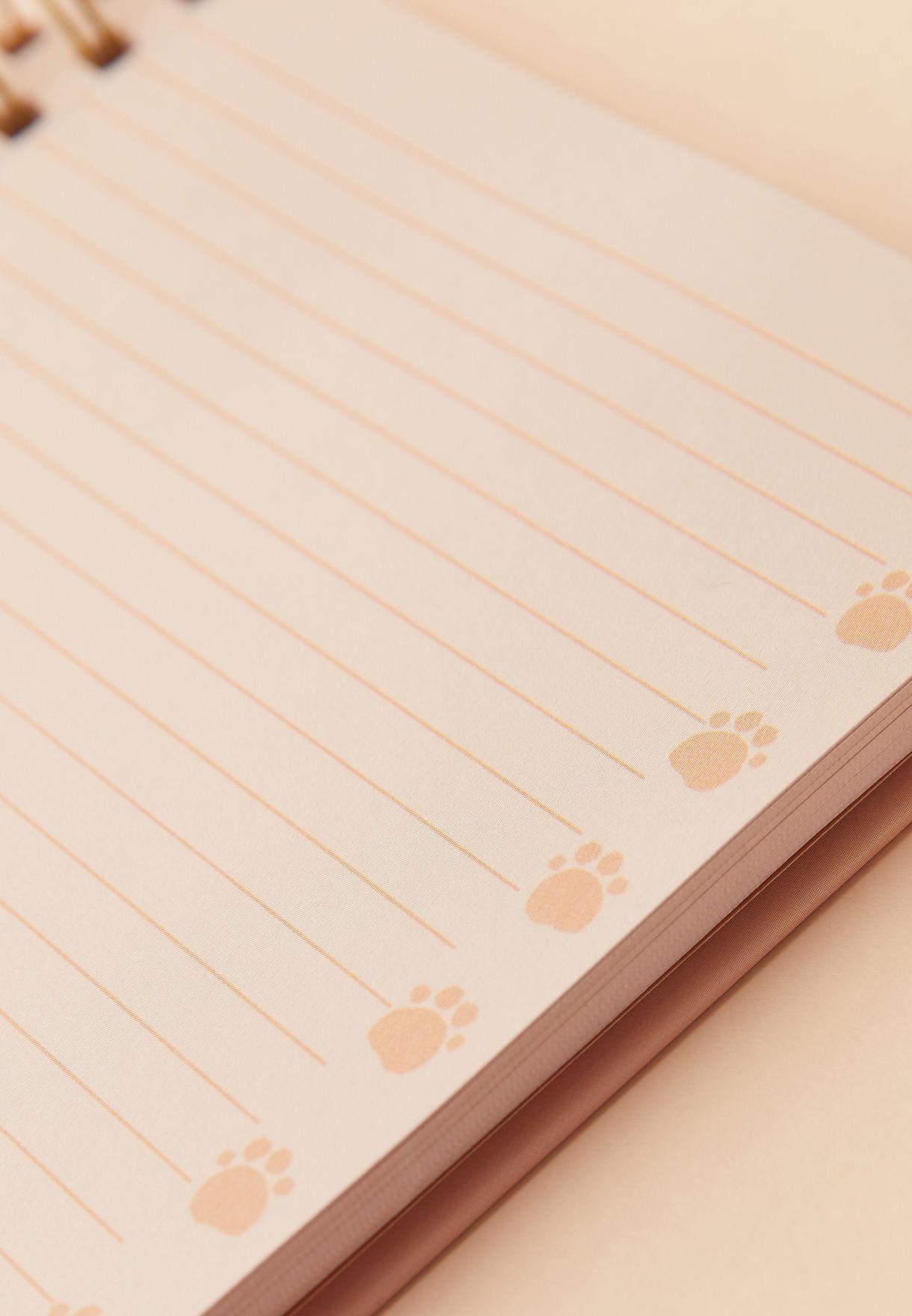 دفتر ملاحظات بطباعة قطة