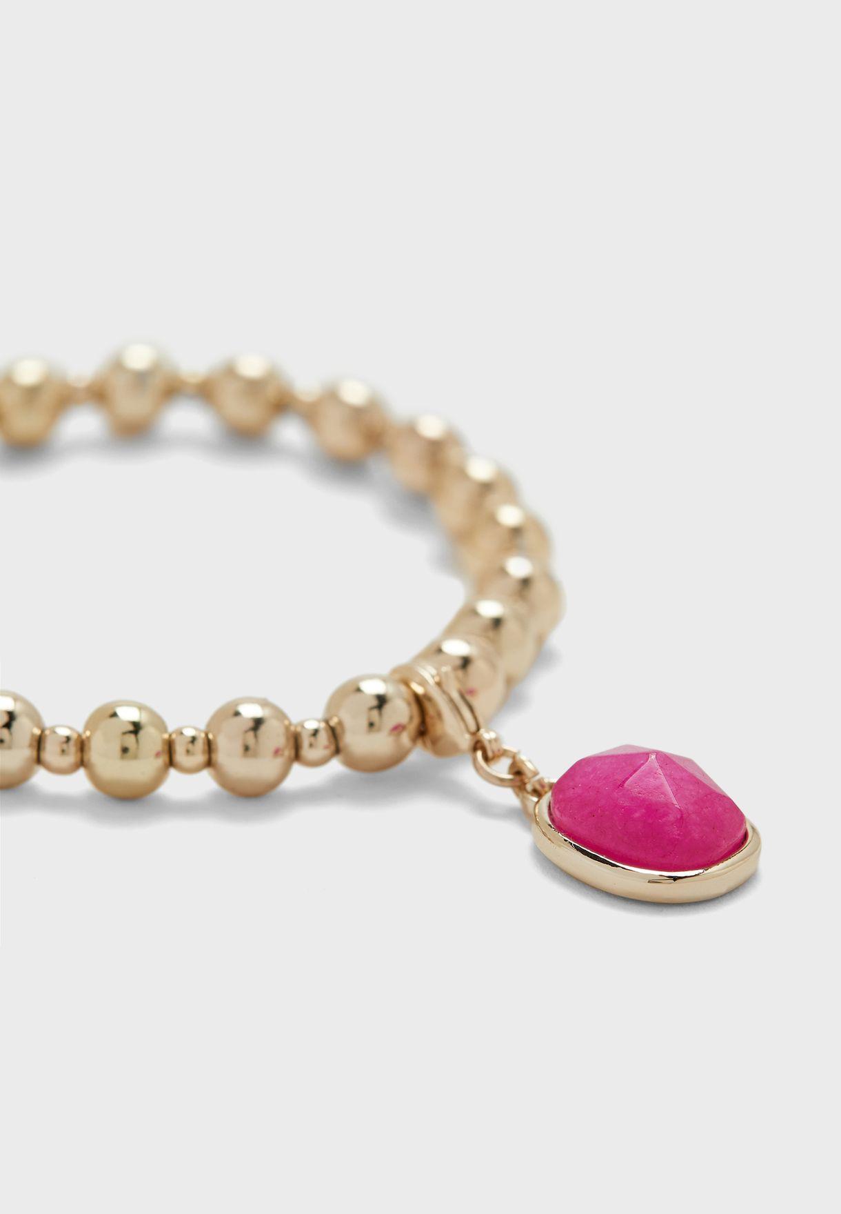 Beaded Fucshia Bracelet