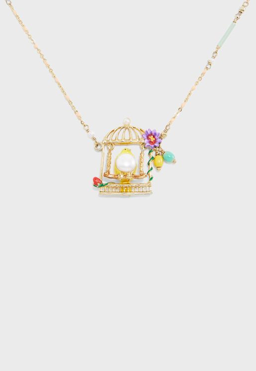 Yellow Canary Swinging In Its Cage Necklace