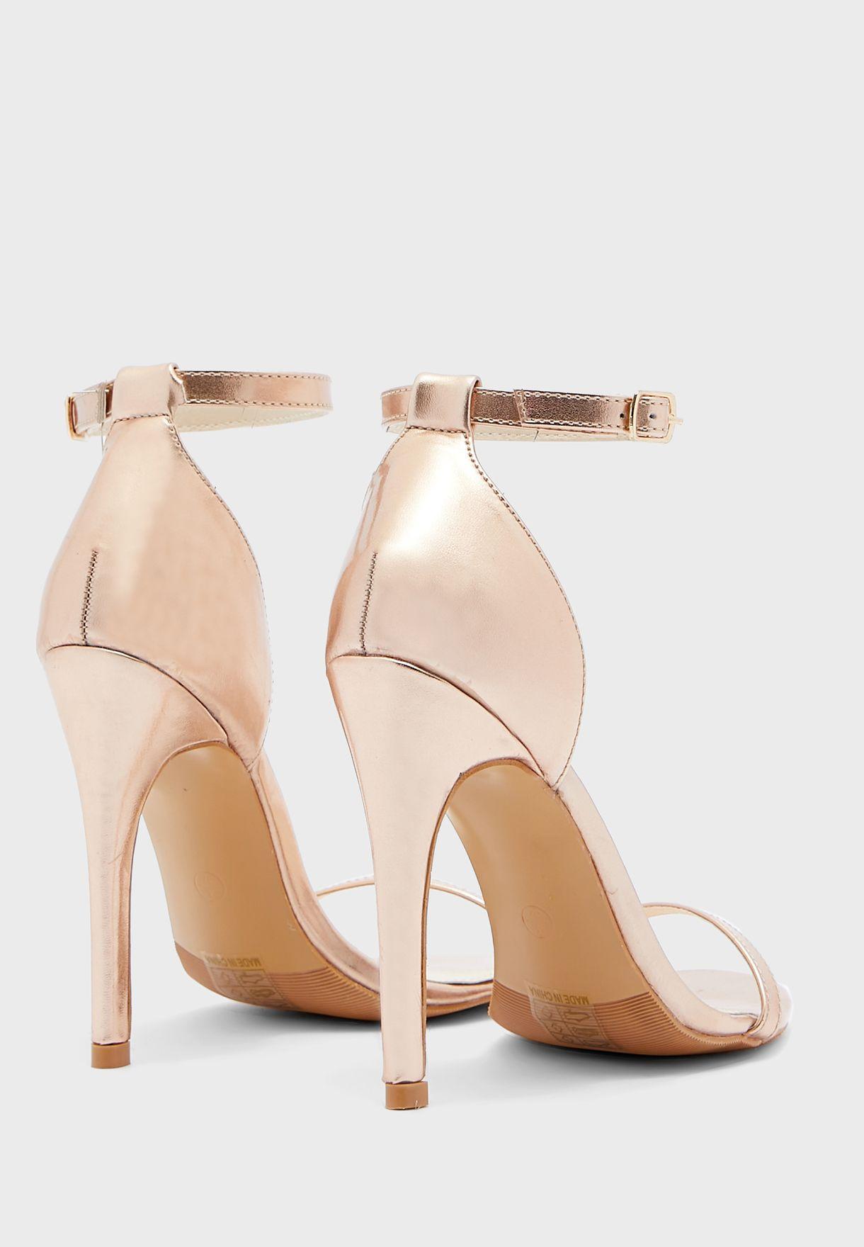 Ankle Strap Round Toe Stiletto Sandal