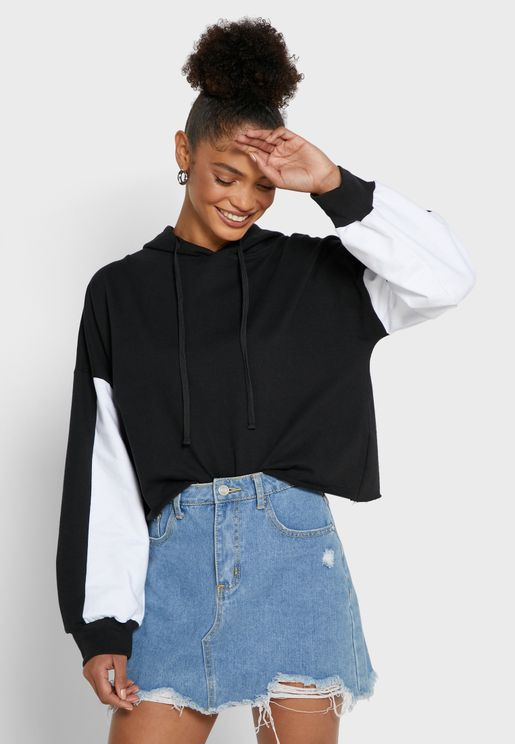 Colourblock Cropped Hoodie