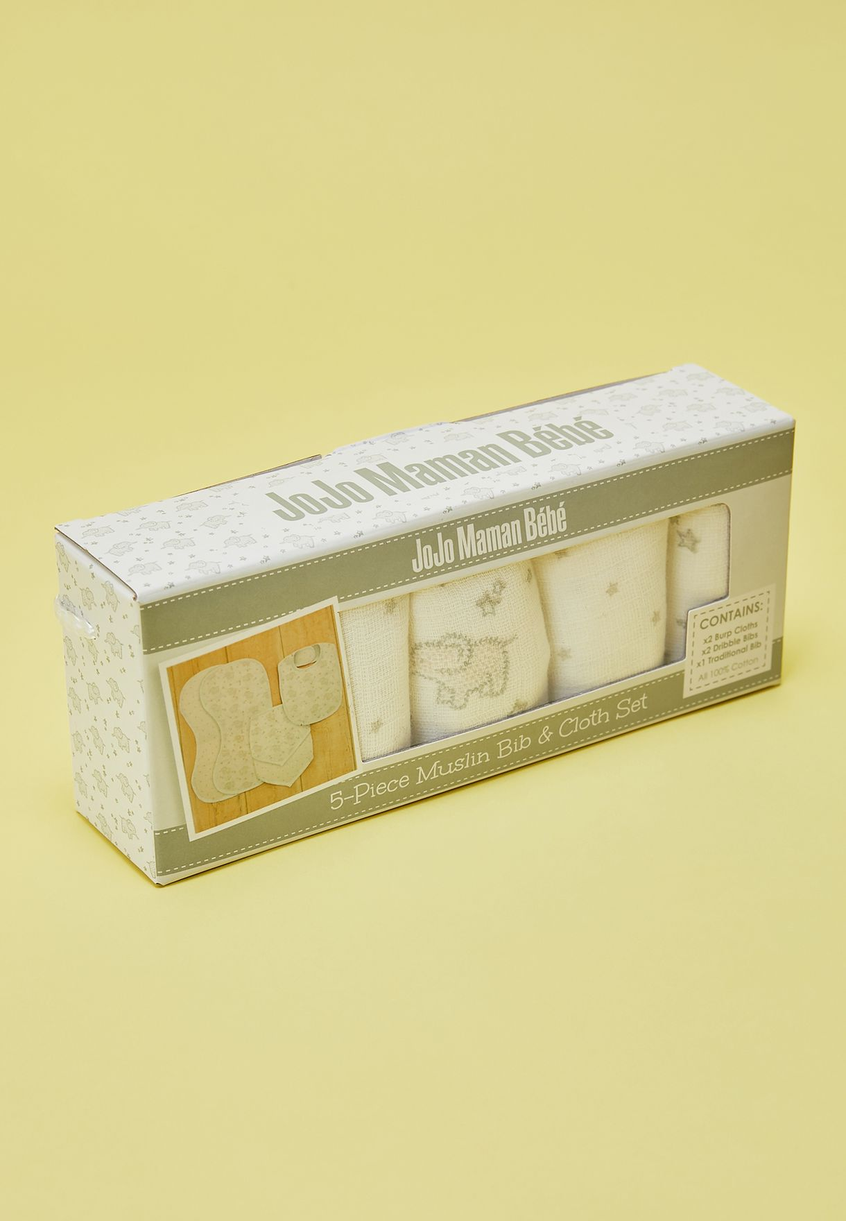 5 Pack Elephant Muslin Cloth & Bib Set