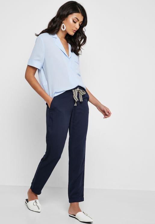 Contrast Tie Waist Pants
