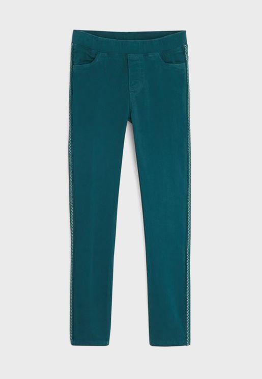Kids Side Braided Trim Trousers
