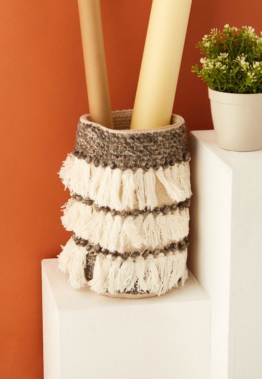 Fabric Tassel Basket 8x8x12""