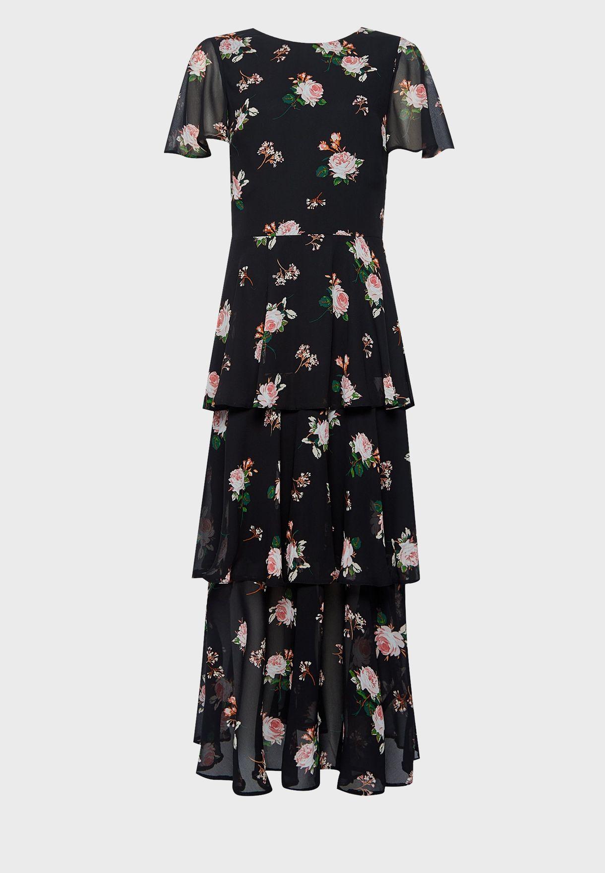 Floral Print Tiered Hem Dress