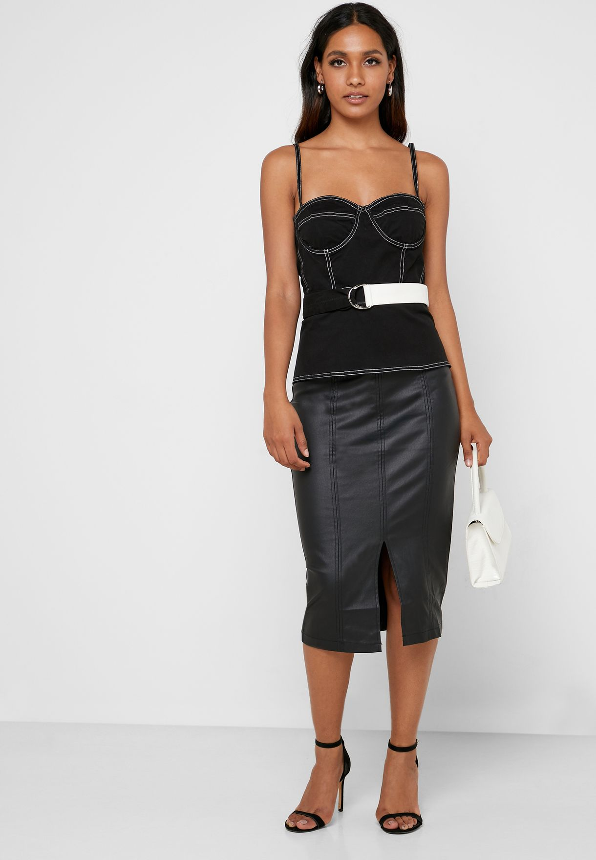 Contrast Stitch Belted Top