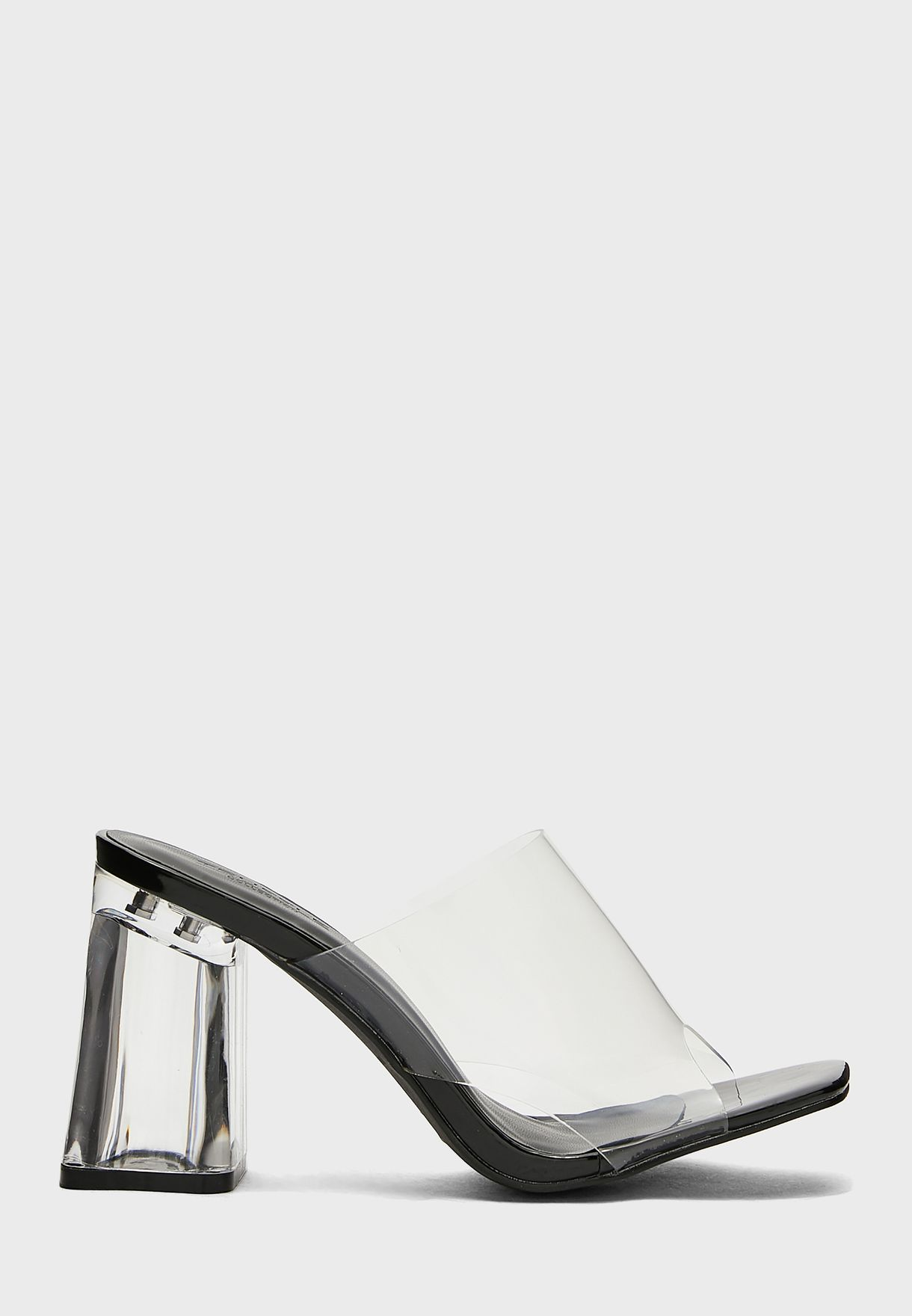 Clear Strap Mule With Persplex Chunky Heel