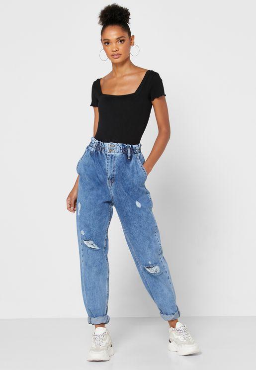Elasticated Waist Mom Jeans
