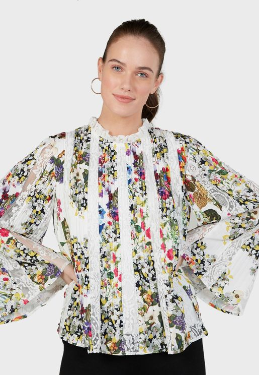Wide Sleeve Printed Top