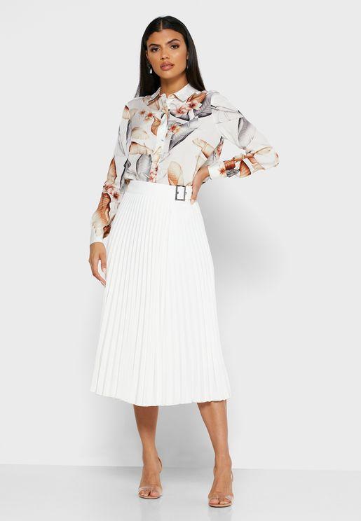 Arielle Pleated Side Buckle Skirt