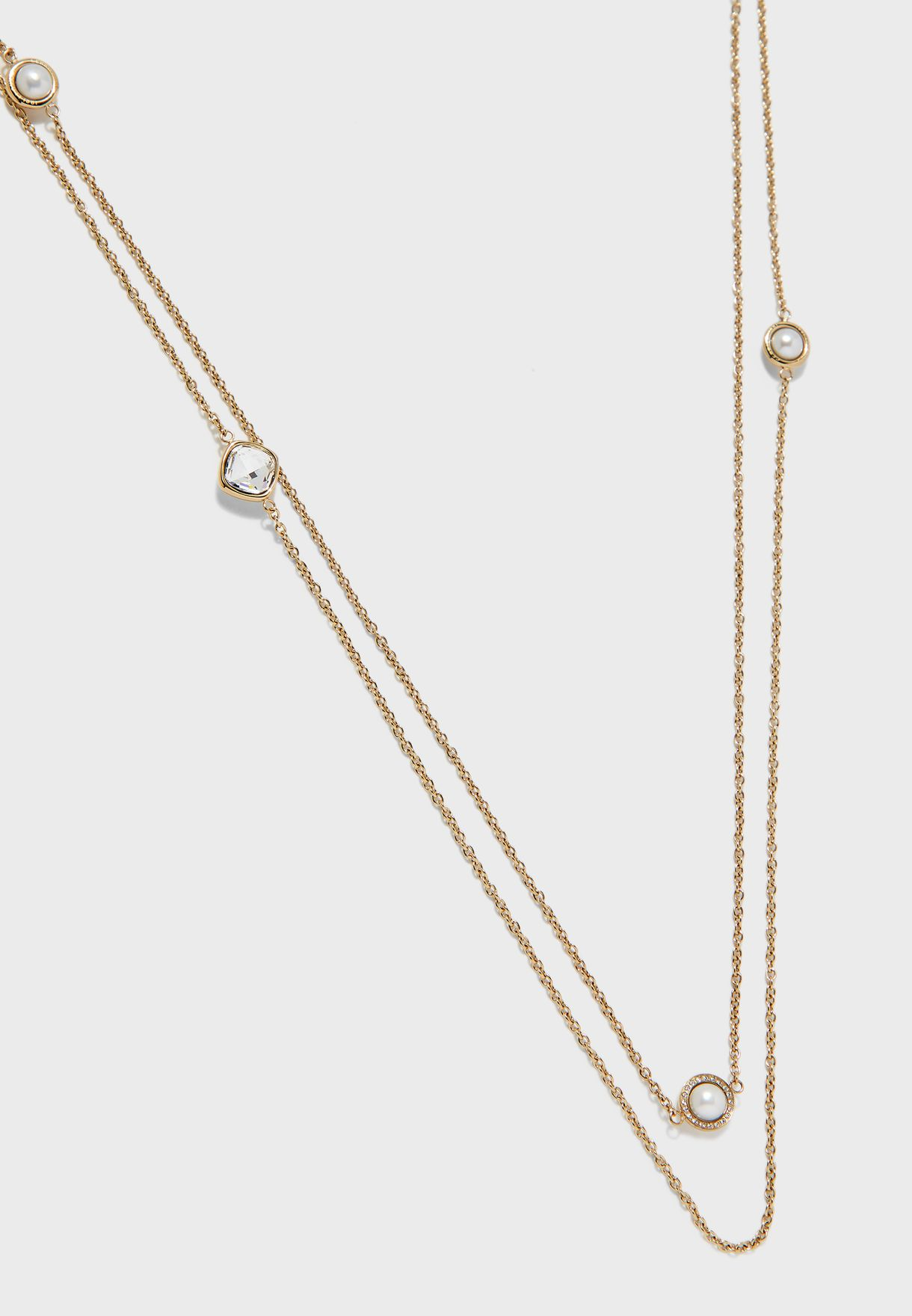 Long Square China Pearl Layered Necklace