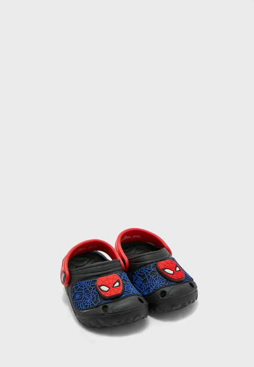 Spiderman Clogs With Led Light Badge