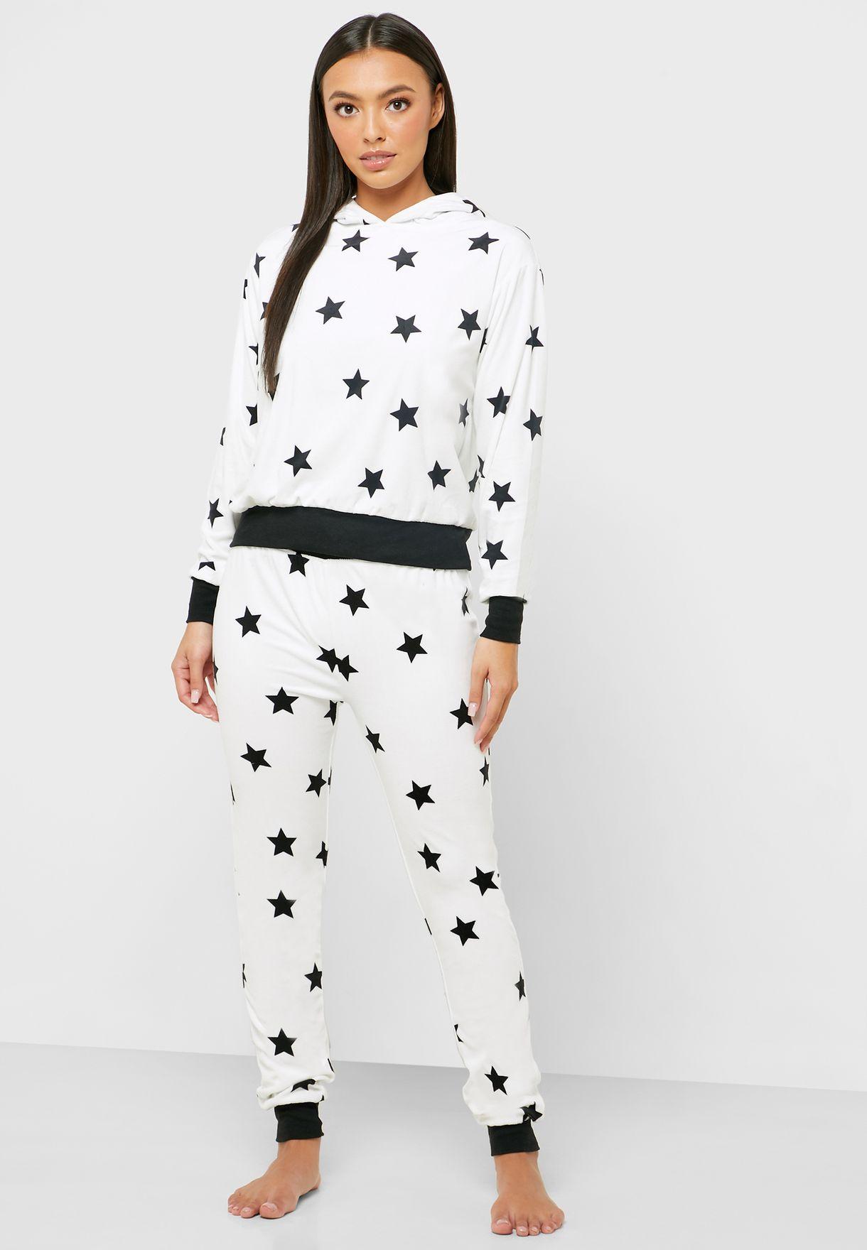 Star Printed Hoodie & Cuff Pyjama Set