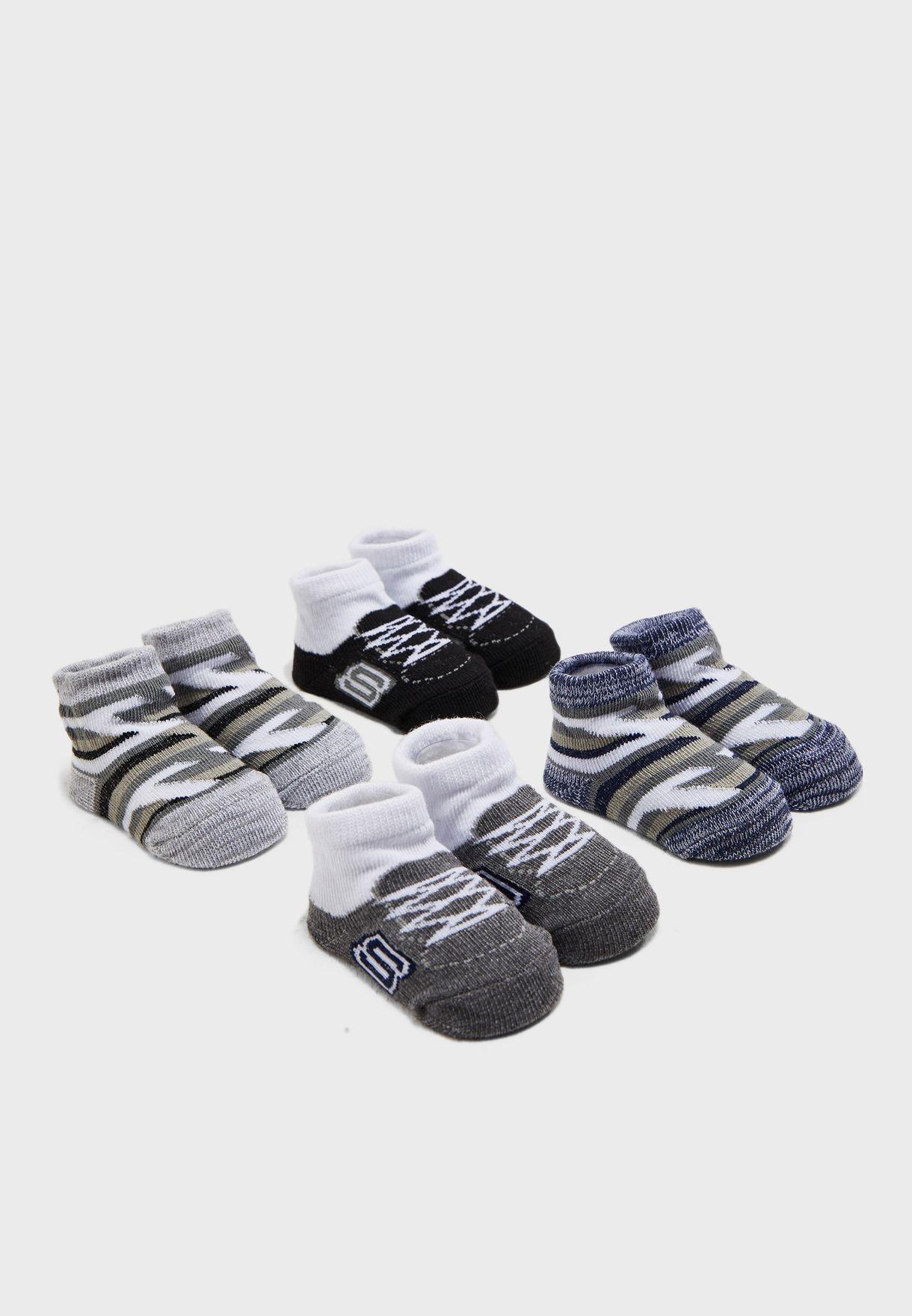 Infant 4 Pack Non Terry Socks