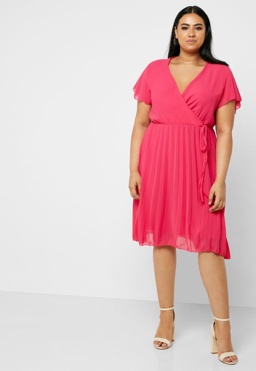 Pleated Wrap Front Midi Dress