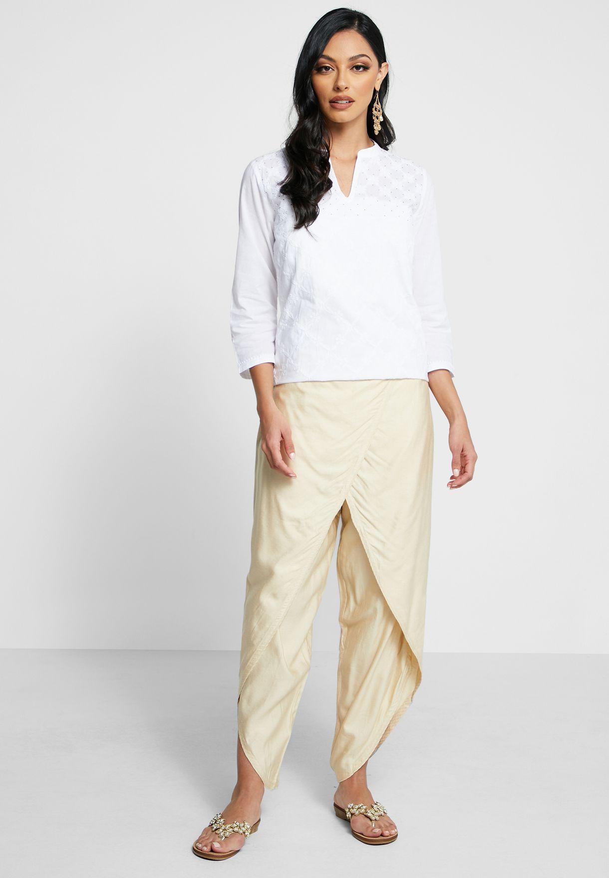 Wrap Front Dhoti Pants