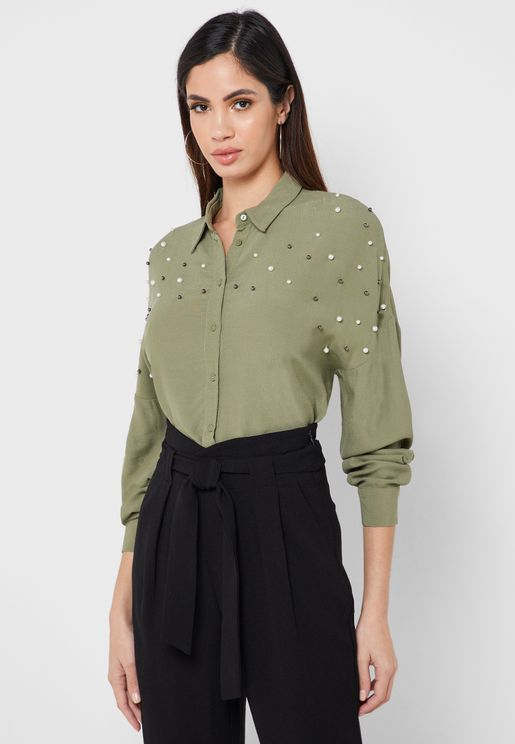 Pearl Detail Button Down Top