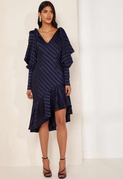 Bound Striped Sleeve Detail Asymmetric Frill Dress