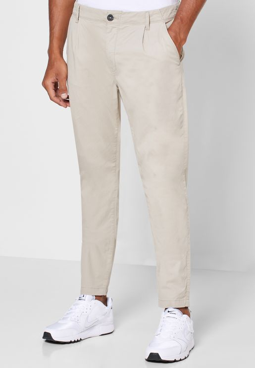 Pleated Slim Fit Chinos