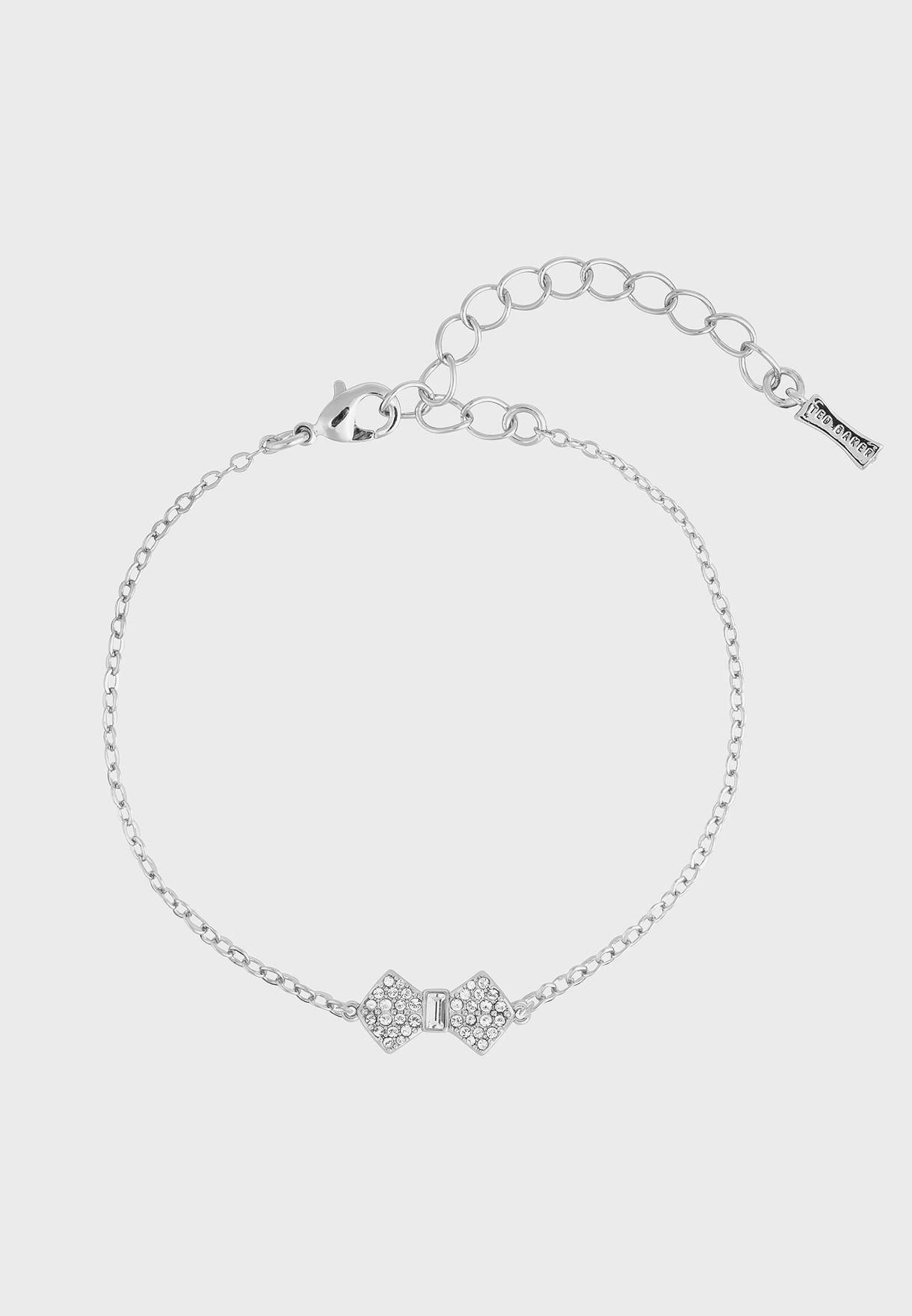 Sanser Solitaire Pave Bow Bracelet