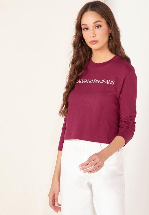 Institutional Logo Crop Long Sleeve T-Shirt
