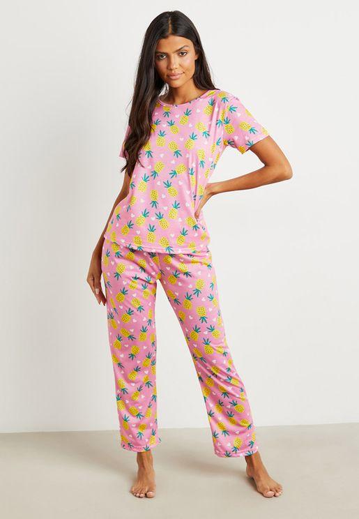 Pineapple T-Shirt And Pyjama Set