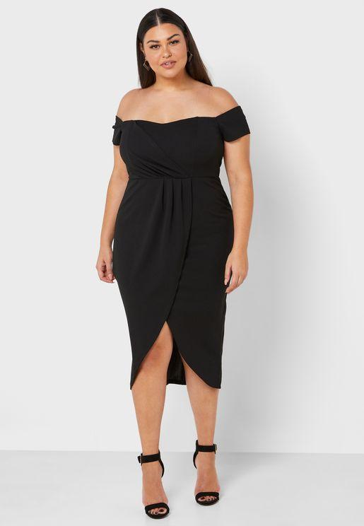 Off Shoulder Pleat Detail Dress